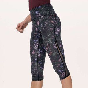 Lululemon Train Times Cropped Dark Floral Leggings